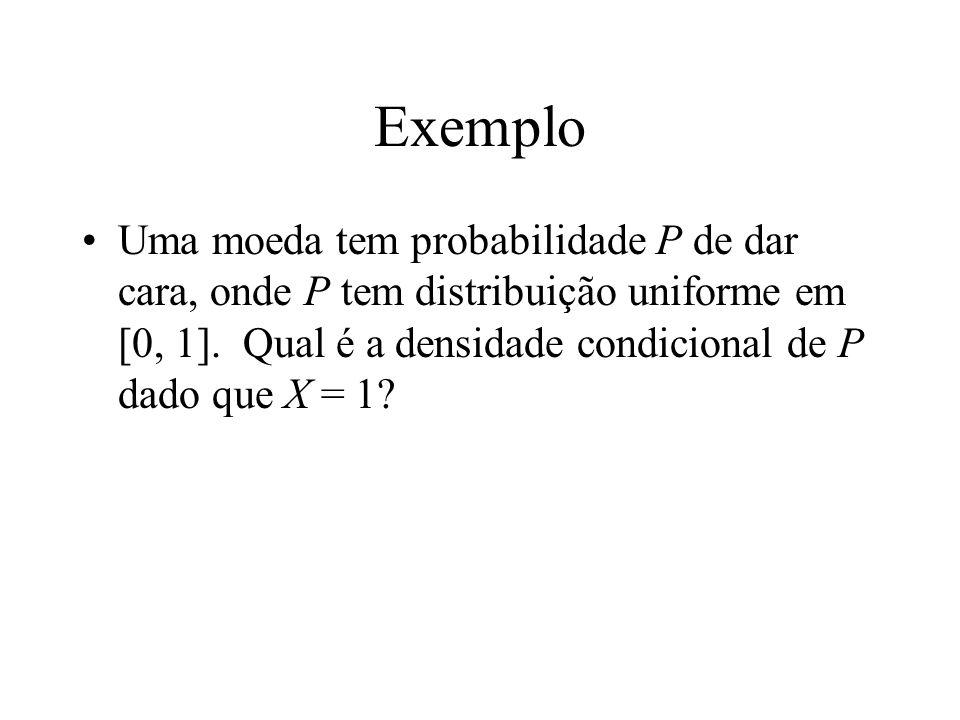 Exemplo Uma moeda tem probabilidade P de dar cara, onde P tem distribuição uniforme em [0, 1].